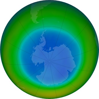 Antarctic ozone map for 2018-08