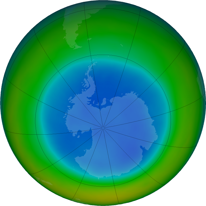 Antarctic ozone map for August 2018