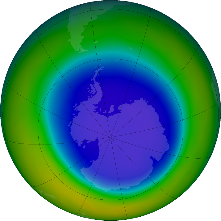 Antarctic ozone map for September 2018