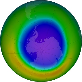 Antarctic ozone map for 2018-10
