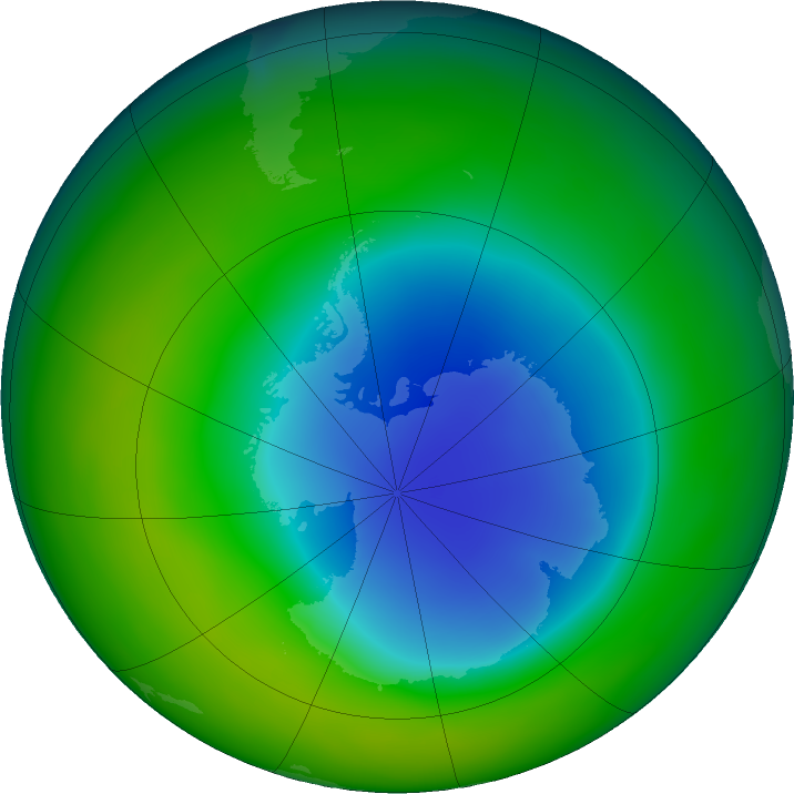Antarctic ozone map for November 2018