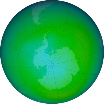 Antarctic ozone map for 2018-12