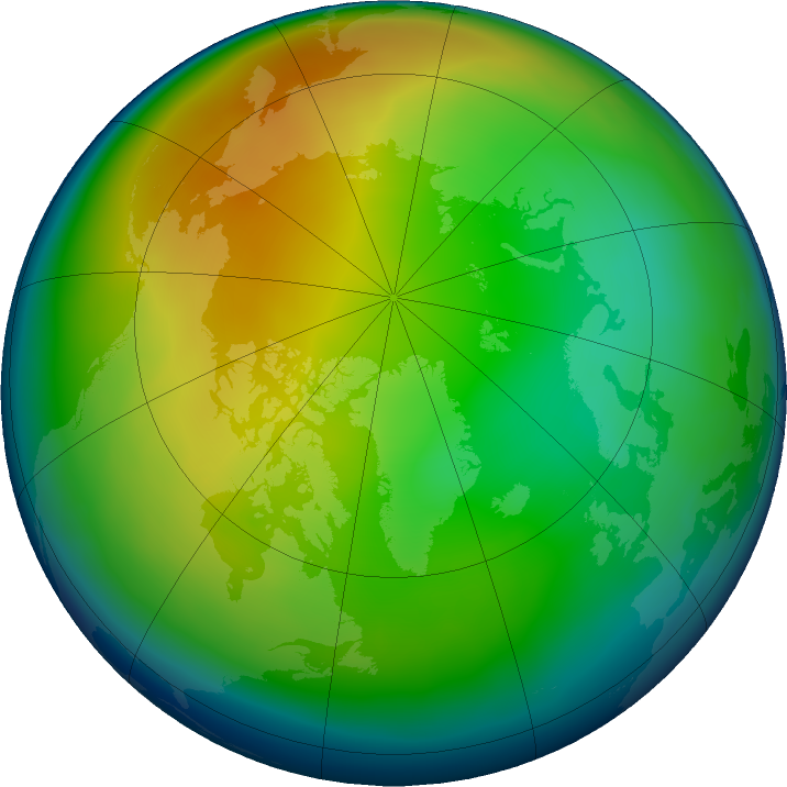 Arctic ozone map for December 2018