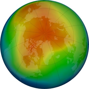 Arctic ozone map for 2019-01