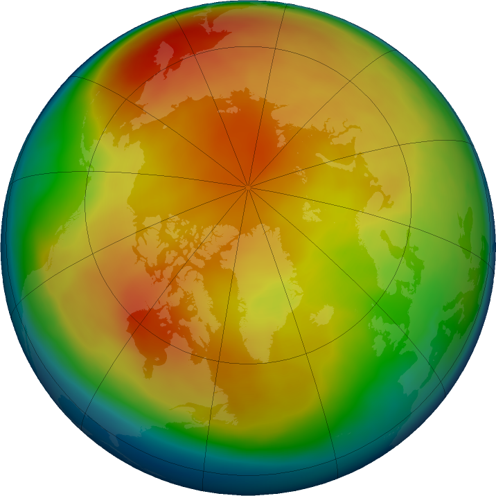 Arctic ozone map for February 2019