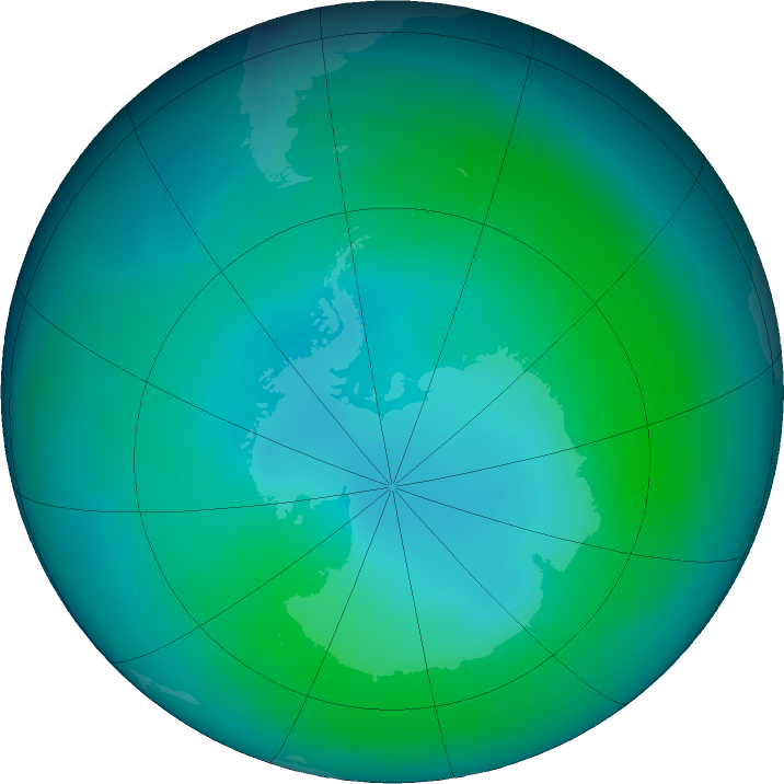 Antarctic ozone map for February 2019