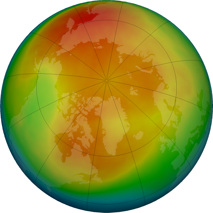 Arctic ozone map for March 2019