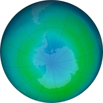 Antarctic ozone map for 2019-04