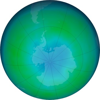 Antarctic ozone map for 2019-05
