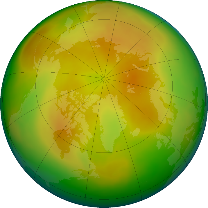 Arctic ozone map for May 2019