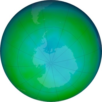 Antarctic ozone map for 2019-06