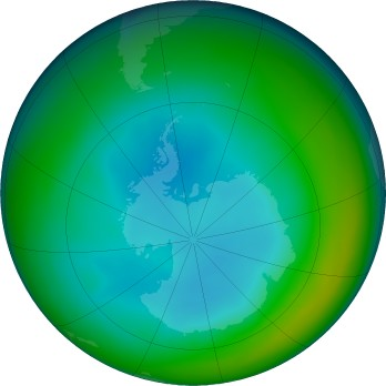 Antarctic ozone map for 2019-07