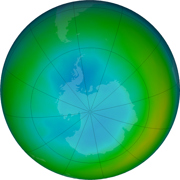 Antarctic ozone map for July 2019