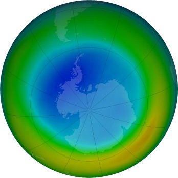 Antarctic ozone map for 2019-08