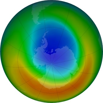 Antarctic ozone map for 2019-09