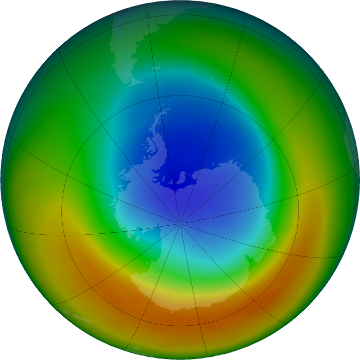 Antarctic ozone map for September 2019