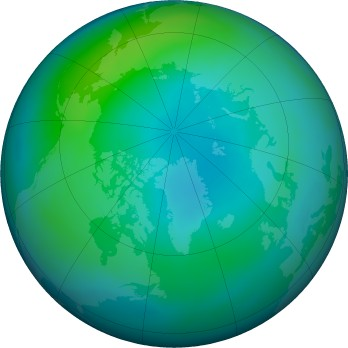 Arctic ozone map for 2019-10