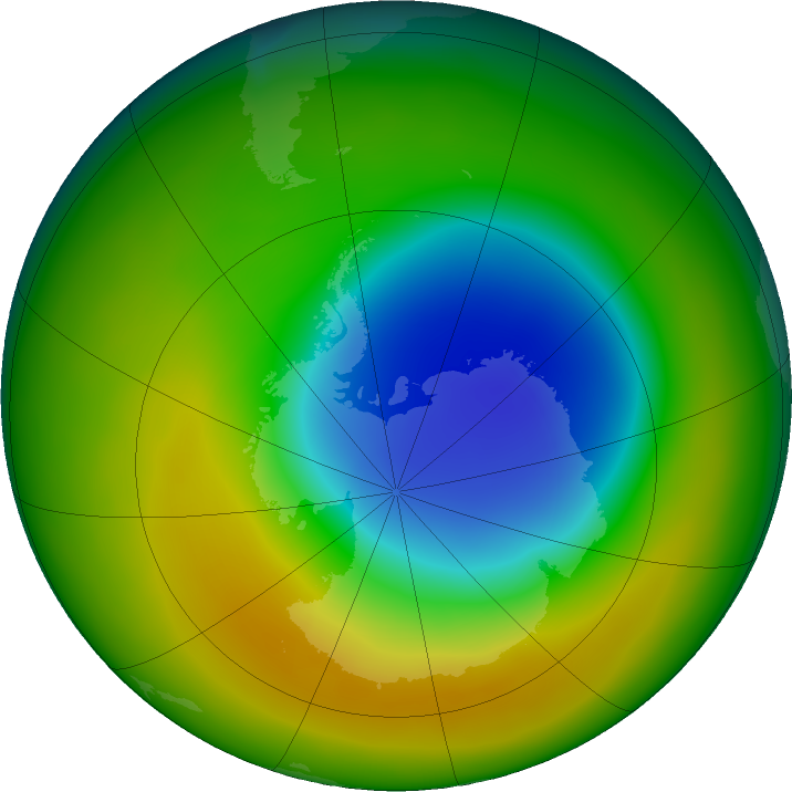 Antarctic ozone map for October 2019