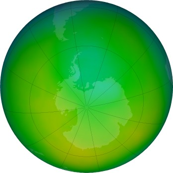 Antarctic ozone map for 2019-11