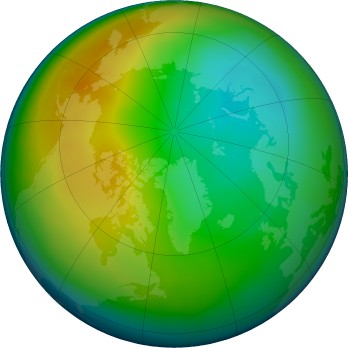 Arctic ozone map for 2019-12