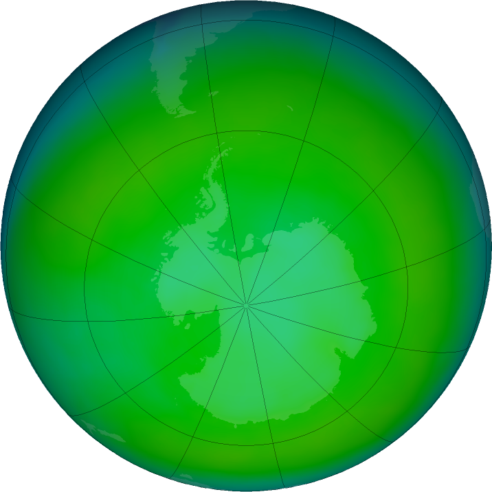 Antarctic ozone map for December 2019
