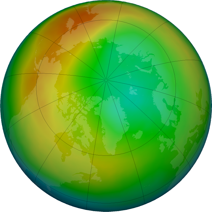 Arctic ozone map for January 2020