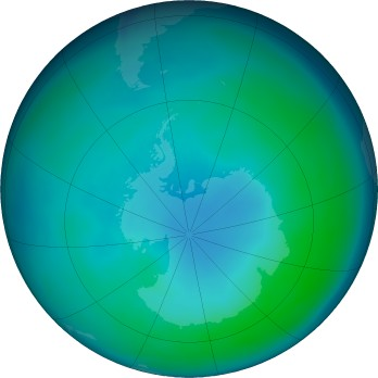 Antarctic ozone map for 2020-04