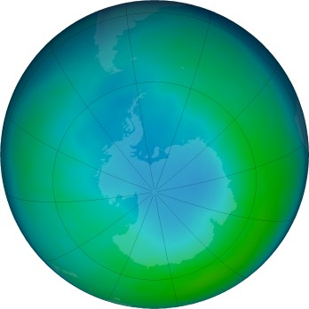 Antarctic ozone map for 2020-05