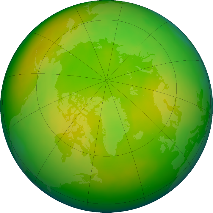Arctic ozone map for May 2020