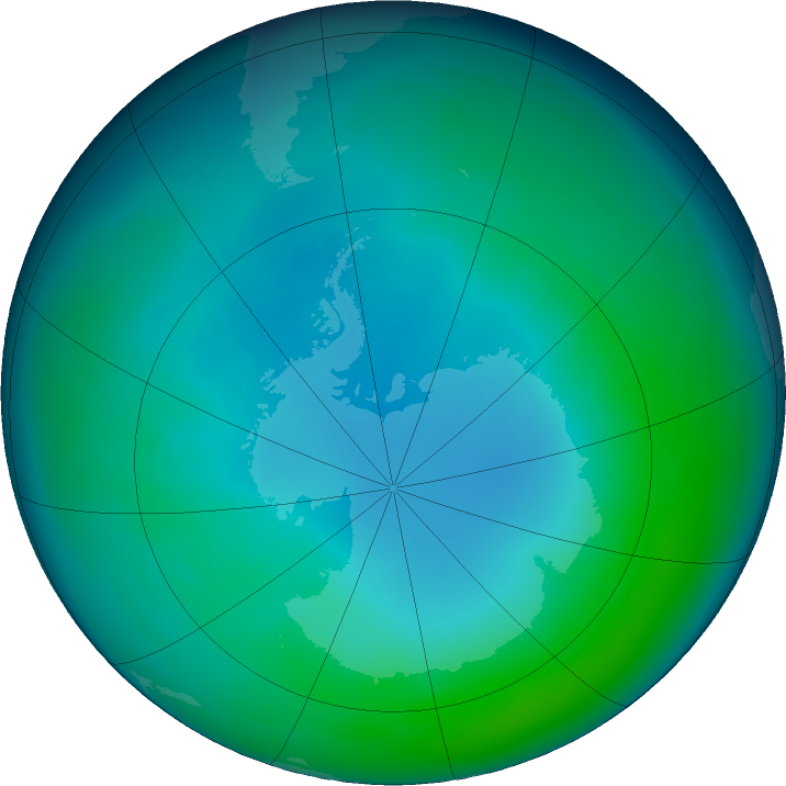 Antarctic ozone map for May 2020