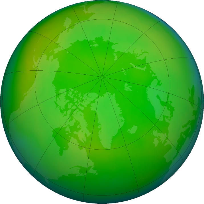 Arctic ozone map for June 2020