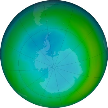 Antarctic ozone map for 2020-07