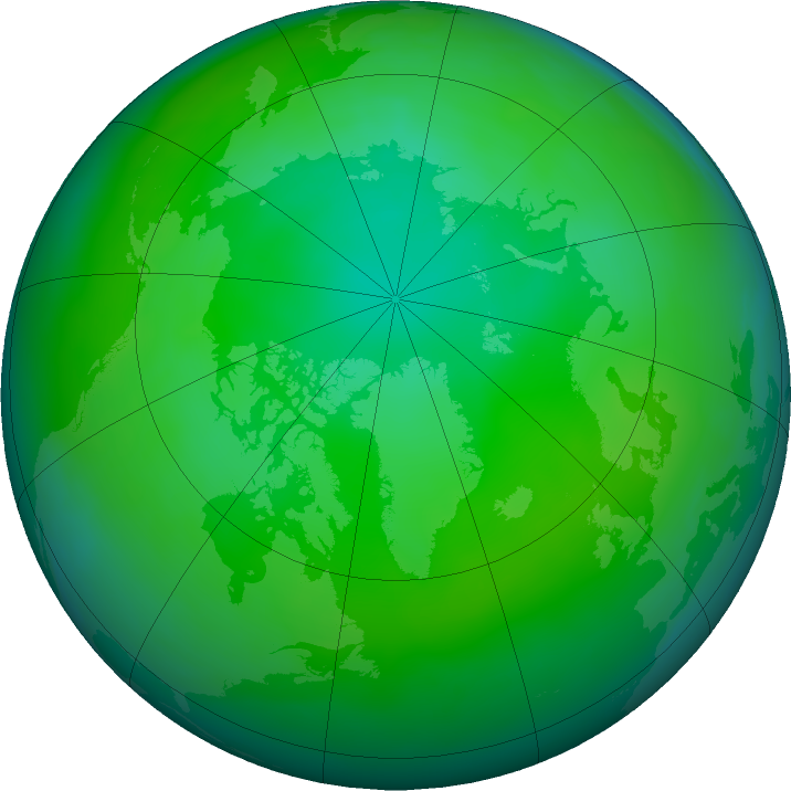 Arctic ozone map for July 2020