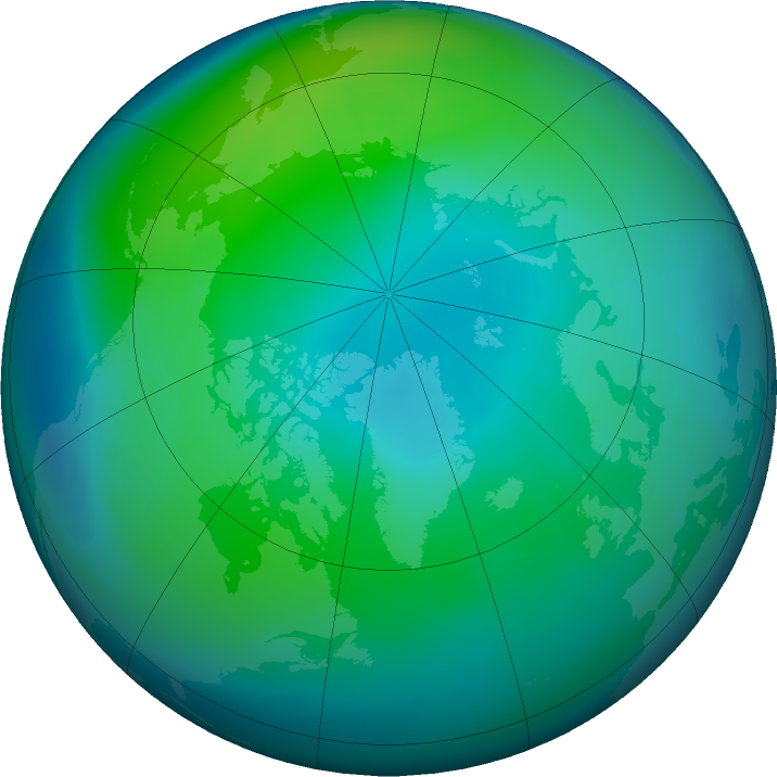 Arctic ozone map for October 2020
