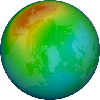 Arctic ozone map for 2020-12