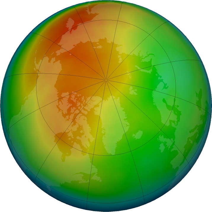 Arctic ozone map for January 2021