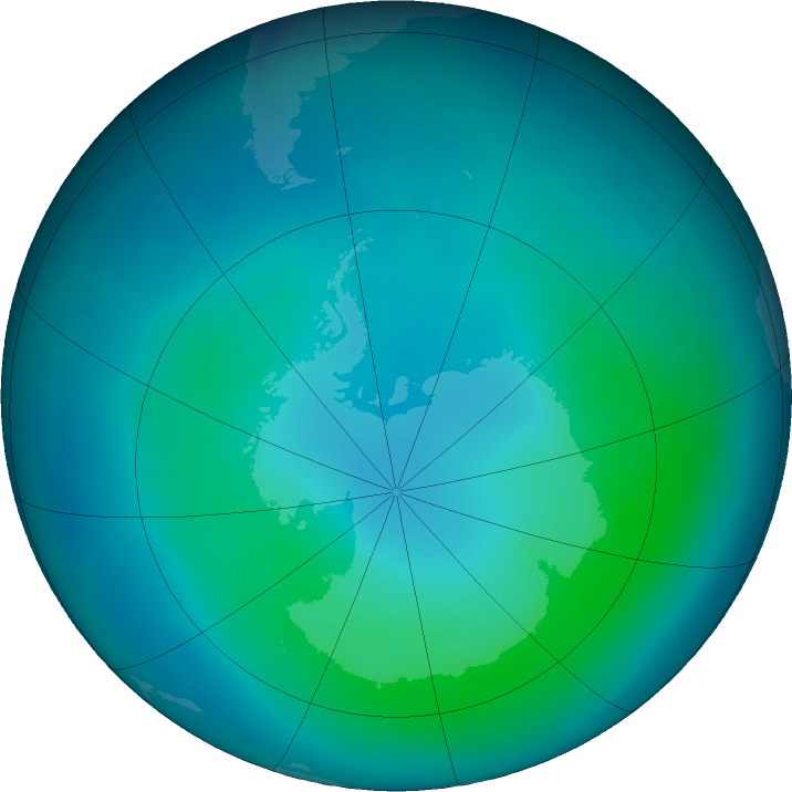 Antarctic ozone map for February 2021